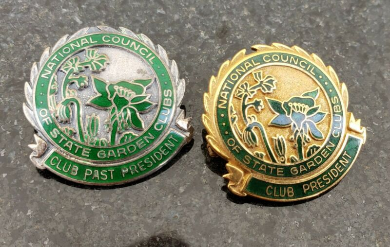 Sterling & Gold National Council Of Garden Clubs President Badge VTG Pin Lot