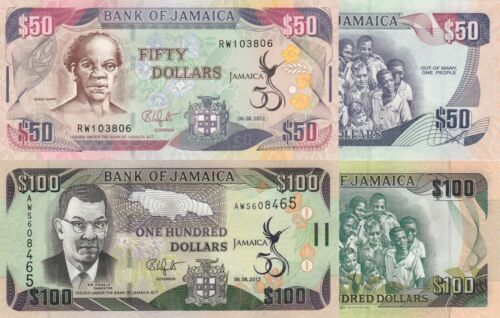 Jamaica 2 Note Set: 50 and 100 Dollars (06-08-2012) - p89and p90 UNC