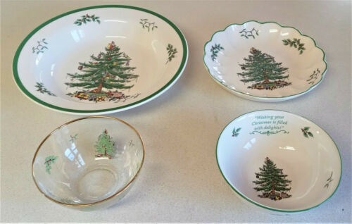 """Lot 4 Spode CHRISTMAS TREE Serving Bowls Candy Dishes 11.5"""", 8.5"""", 6.25"""", 5.5"""""""