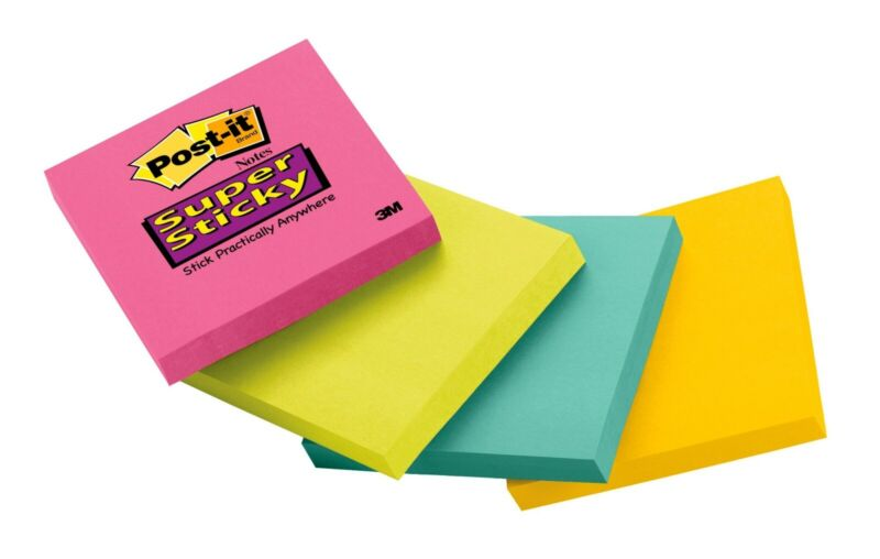 """Post-it Super Sticky Notes, 3"""" x 3"""", Pink, Green, Blue Pads, 1 Pack"""