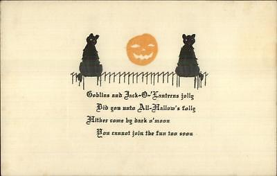 Halloween Black Cats JOL & Poem No Publisher c1910 Postcard EXC COND