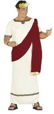 Mens White/Red Greek Roman Toga Party Historical Fun Fancy Dress Costume Outfit for sale  Shipping to United States
