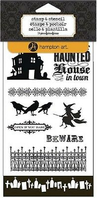 Hampton Art Haunted - Halloween Clear Stamp & Stencil Set #982 - Halloween Clear Stamps