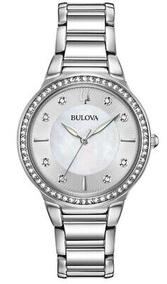 Bulova Women's Swarovski Crystal Markers Quartz Silver Tone 32mm Watch 96L267