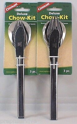 2PK DELUXE CHOW KIT STAINLESS STEEL KNIFE, FORK & SPOON LOCK INTO KNIFE TOGETHER