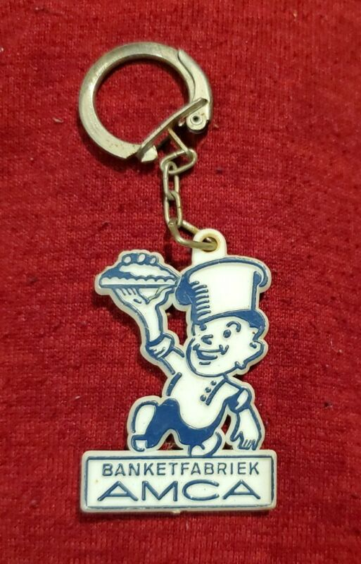 Vintage Banketfabriek Amca keychain key ring old plastic rare