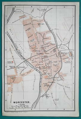 1897 BAEDEKER MAP - ENGLAND Worcester City Plan + Cathedral Ground Plan