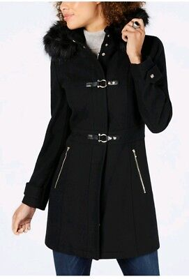 Ivanka Trump Women's Faux Fur Trim Hooded Toggle Coat Black Size 14 new with tag Trim Hooded Toggle