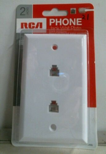 RCA TR253WHR Phone Jack Wall Plate 2 Jacks White FREE SHIPPING