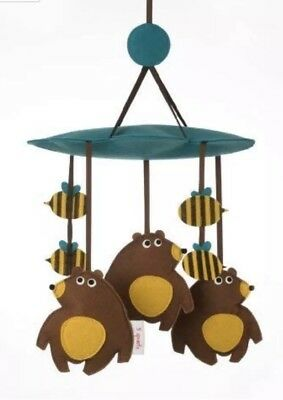 3 Sprouts Felt Bear Bee Crib Mobile Nursery Baby EUC