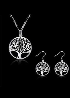 925 Sterling Silver Women Jewellery Set Tree Of Life Necklace Earrings Gift