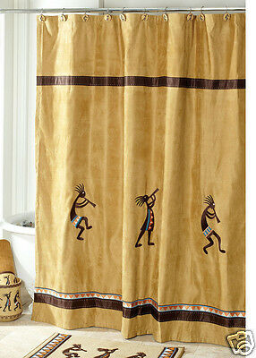 Avanti Linens Kokopelli Fabric Shower Curtain, Gold