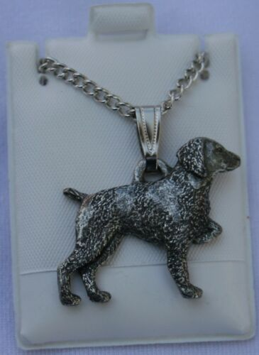 Brittany Spaniel Dog Harris Fine Pewter Pendant w Chain Necklace USA Made