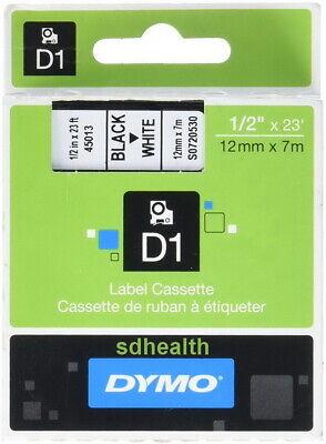 Dymo Label Maker Cassette Cartridge D1 Black On White Tape 45013 12 X 23