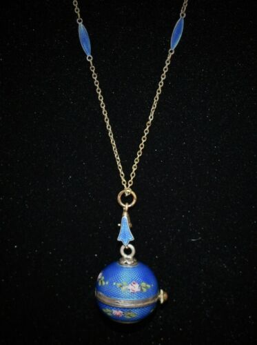 LOVELY Hand Painted ENAMEL GUILLOCHE WATCH w ORIGINAL GUILLOCHE Chain Necklace