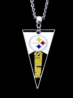 Pittsburgh Steelers NFL Logo Pendant Charm Silver Chain Necklace Jewelry