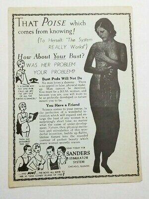 Vtg 1932 Coney Island Poster BREAST ENLARGEMENT SANDERS SYSTEM Risque Quack FA