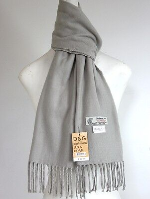 DG Men's Winter Scarf.Warm Solid Gray Cashmere Feel*Soft*Unisex