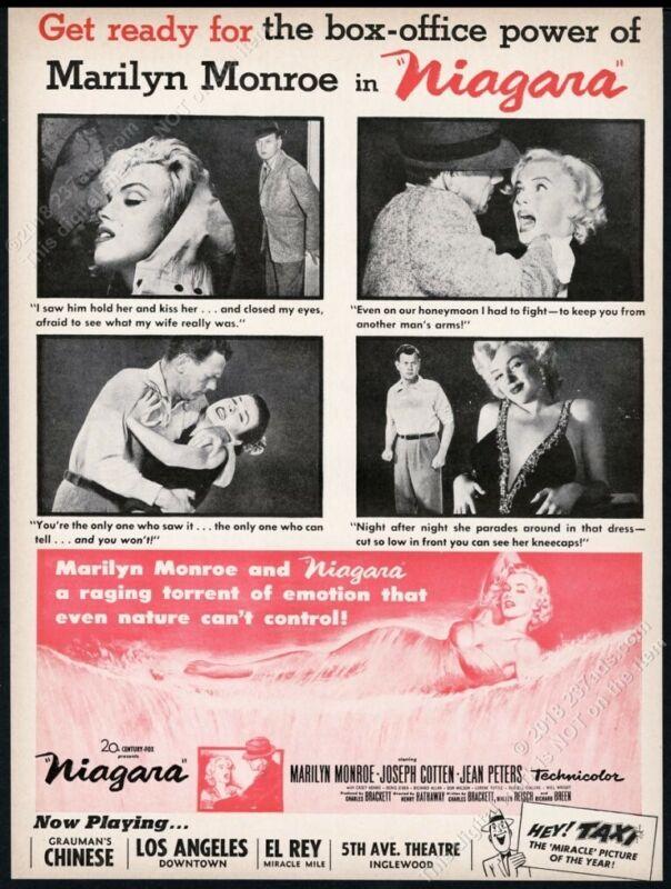 1953 Marilyn Monroe 4 great photo Niagara movie release scarce trade print ad
