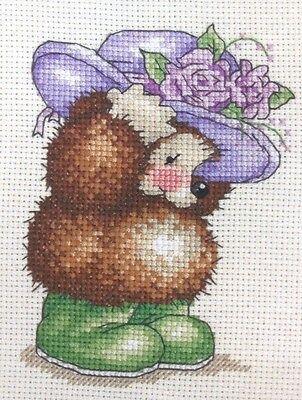 Stickpackung Stickbild Igel Hut Blumen Zeichentrick Kreuzstich sticken 11x8 cm
