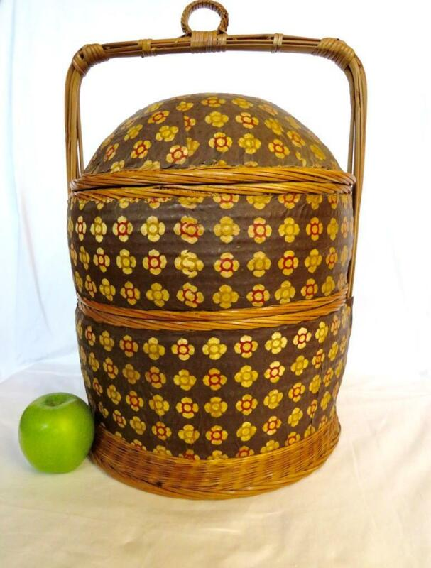 "Vintage Asian 3-Tier Food Wedding Upholstered Woven Wicker Rattan Basket 19""H"
