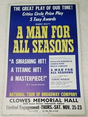"Vintage Original A Man for All Seasons Clowes Hall 22""x14"" window card poster"