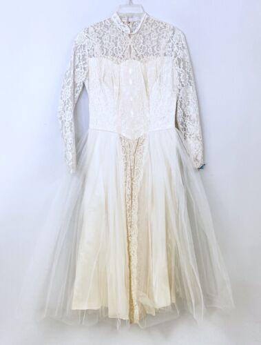 VTG 50s Wedding Dress Gown Tulle Chantilly Lace Tea Length Womens M/L Bridal