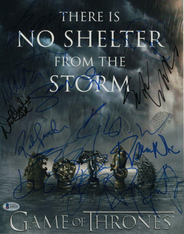 SOPHIE TURNER +9 CAST SIGNED AUTOGRAPH - GAME OF THRONES 11x14 POSTER - BECKETT