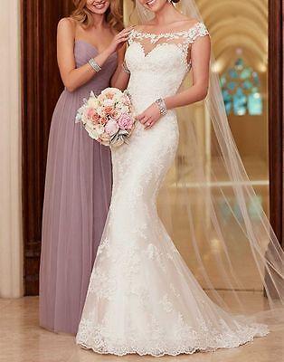 New White Ivory Mermaid Lace Wedding Dress Bridal Gown Custom Size 6/8/10/12/14+