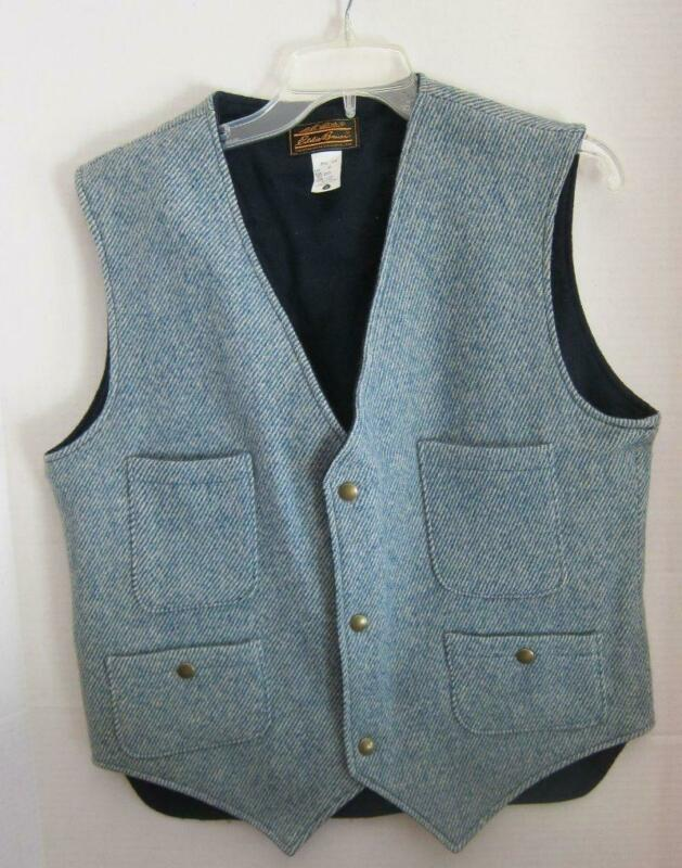Vtg EDDIE BAUER Wool Vest HUNTING Work Wear USA MADE Blue Herringbone Tweed M