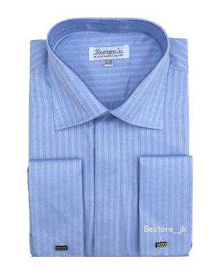 Men's French Cuff Jacquard Stripe Classic Dress Shirt #30 Light Blue