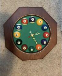 Large wooden frame billiards pool ball wall clock. Authentic, Handmade Art.