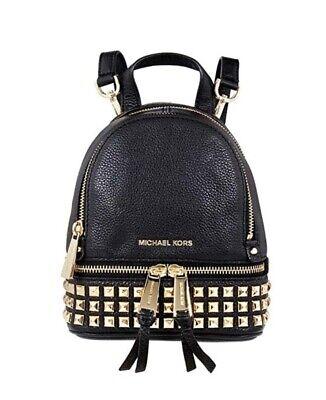 MICHAEL KORS Rhea Mini Studded Leather Backpack - Black Studded Leather Mini