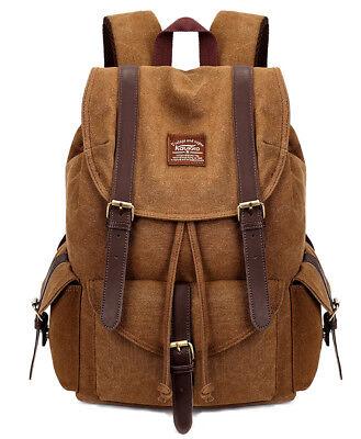 KAUKKO Herren Damen Reisen  canvas Rucksack Vintage Wanderrucksack Backpack