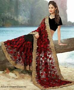 Embroidered Net Saree #DS 057 (Red & Black) / Sari / Salwar /Bollywood