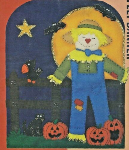 BY THE LIGHT OF THE MOON--Scarecrow--Halloween--Banner--NEEDLE FELT KIT