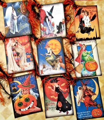 Halloween Witches~9 Gift Hang Tags~Scrapbooking~Card Craft Making Embellishments - Make Halloween Gift Tags