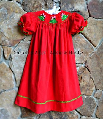 Smocked A Lot Girls Christmas Tree Bishop Dress Red Corduroy Santa Green Outfit - Green Santa Dress