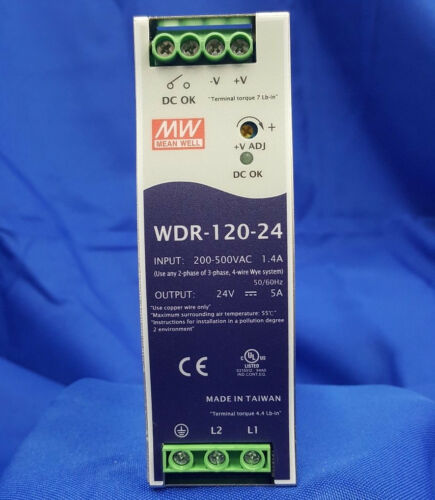 Mean Well WDR-120-24 AC/DC Power Supply Single-OUT 24V 5A 120W  US Authorized