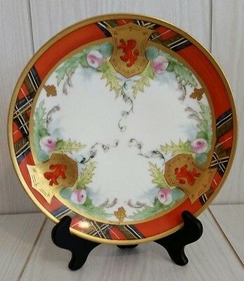 Vintage WA Pickard Hand Painted China Plate Artist Signed Scotch Pattern