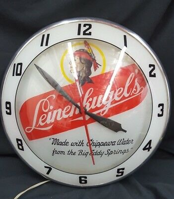 Vintage Leinenkugels Brewery Double Bubble Round Electric Wall Clock