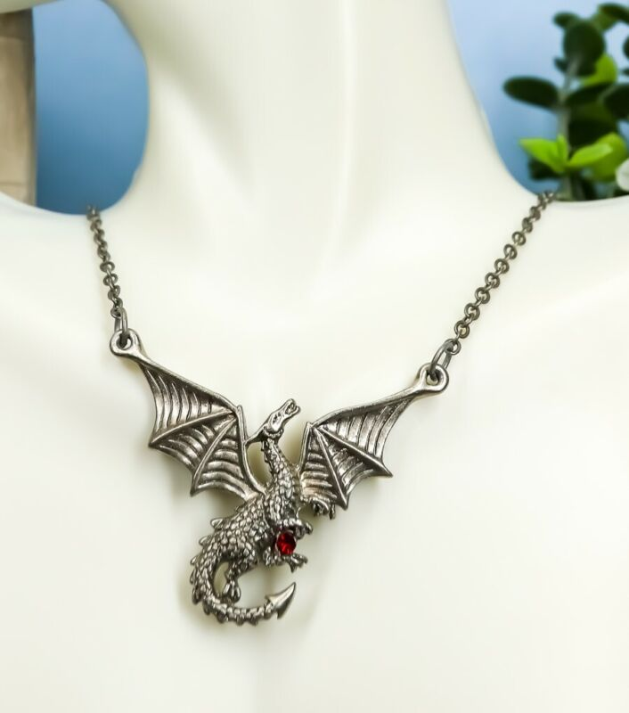 Ebros Red Gemstone Winged Caduceus Moon Dragon Jewelry Pewter Pendant Necklace