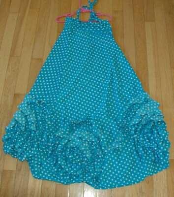 EUC Pixie Girl by Vicki Sigg  girl's blue polka dot maxi dress 8 - Pixie Girl Dresses