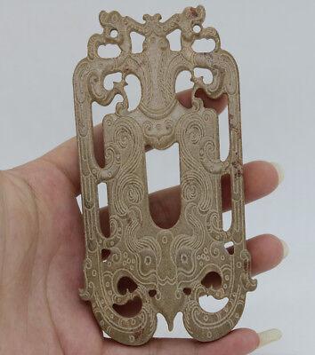 Chinese Oriental culture hand carve jade openwork dragon phoenix pendant D74