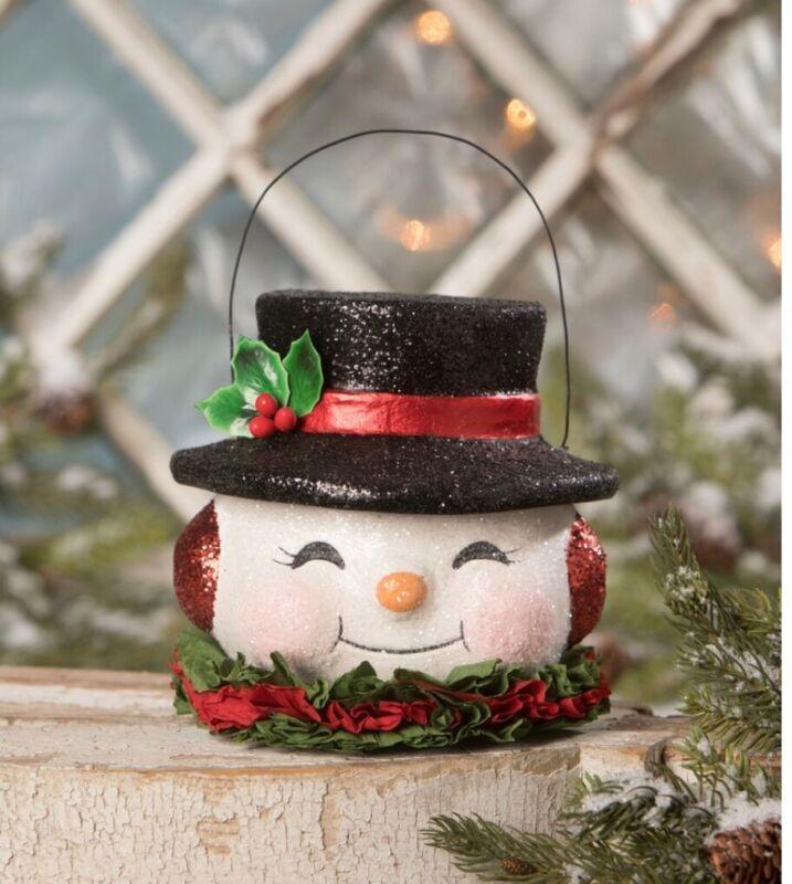 Bethany Lowe Paper Mache Happy Retro Snowman Bucket Free Shipping