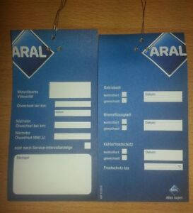 50 Aral Ölwechselanhänger - Ölzettel - Ölanhänger - Service - Inspektion