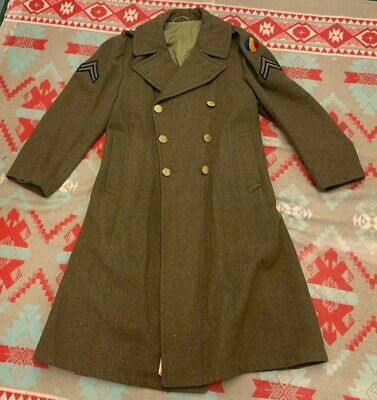 MINT VINTAGE WWII WW2 US Army IRTC PATCH Wool Winter Overcoat Trenchcoat 38r