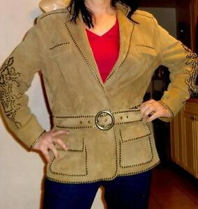 Oakville NEW $1000 Luisa Cerano STUDDED LEATHER JACKET US 14 16 LARGE A1+ QUALITY SUEDE COAT