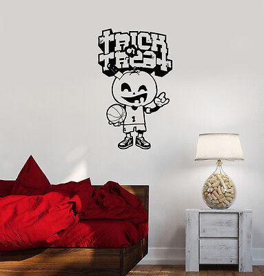 Wall Decal Halloween Merry Pumpkin Basketball Game Player Vinyl Sticker - Halloween Basketball Games