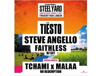 4 x TIESTO CREAMFIELDS STEEL YARD FINSBURY PARK SUNDAY 27TH MAY + AFTERPARTY @ O2 ACADEMY